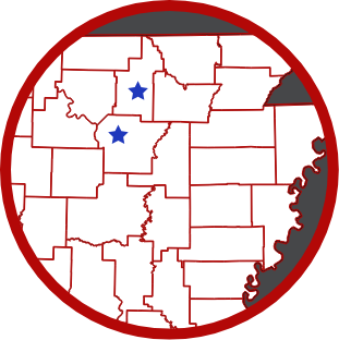 Map of Northeast Arkansas with Mark Martin dealership locations denoted by a star. There are three locations, one each in Sharp, Izard, and Independence counties.
